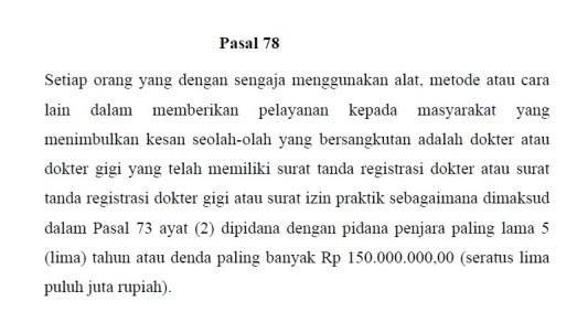 UU Praktik Kedokteran No 29 Tahun 2004 Pasal 78